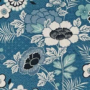 Indigo Floral Montage Linen Coton