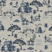 Indigo Scene Linen Coton
