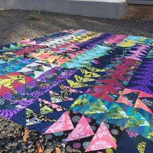 Geesey quilt, 57 stroken van 3,5 inch breed