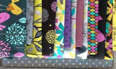 V Deel 1 stof voor Vogel versie Brinton Bird Hall Quilt uit Quiltmania 107 en 108 met 1 inch hexagonnen