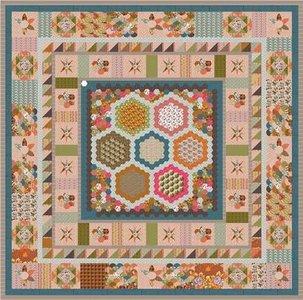 Deel 1 Stof voor Brinton Hall Quilt uit Quiltmania 107 en 108 met 1 inch hexagonnen
