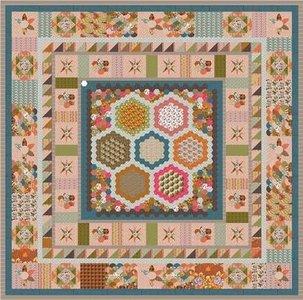 Deel 4 Stof voor Brinton Hall Quilt uit Quiltmania 107 en 108 met 1 inch hexagonnen