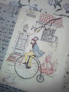 Anton Pieck borduren - Pieck op de Fiets maand 1 afmeting 21,7 x 15,4 cm