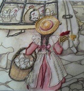 Anton Pieck borduren - Voorjaar, tulpen en draaiorgel  maand 2 afmeting 38,8 x 26,6 cm