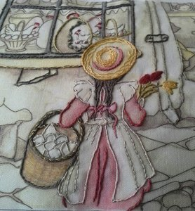 Anton Pieck colouring/embroidery Spring, Tulips and Hurdy Gurdy month 2