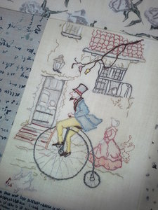 Anton Pieck colouring/embroidery - Pieck on the Bike month 1