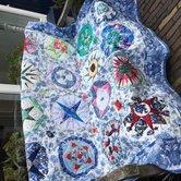 Stofpakket-Klaskes-Sintsjes-quilt-in-blauw-stof-met-patroon